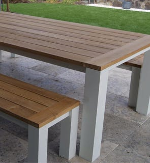 Buy Aluminium Outdoor Settings Online OUTDOOR ELEGANCE - Teak and aluminium outdoor table