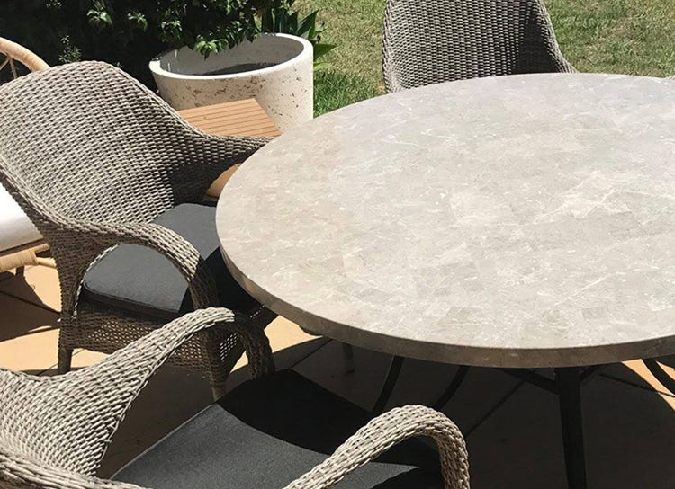 Stone Outdoor Settings, Round Stone Table Outdoor