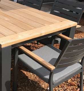 Buy Outdoor Dining Sets Online OUTDOOR ELEGANCE - Teak and aluminium outdoor table