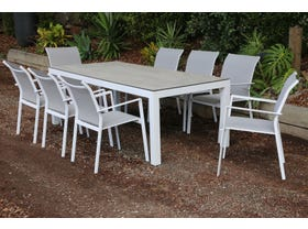 Verde Glass Table with Crudo Chairs 9pc Outdoor Dining Setting -SYD ONLY
