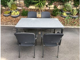 FLOOR MODEL - Alutapo Table with Carlo Chairs 5pc Outdoor Dining Setting