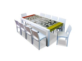 The Brando lava stone dining table 220 x 100 with 10 chairs