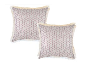 Milan Blush with Fringe 45cm Outdoor Cushion 2 Pack