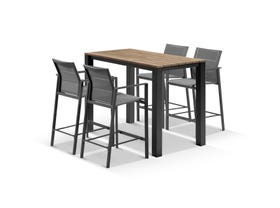 Adele Teak Bar Table with Meribel Bar Stools - 5pc Outdoor Bar Setting