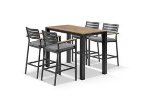 Adele Teak Bar Table with Corfu Bar Chairs -5pc Outdoor Bar Setting