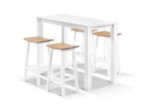 Adele Bar Table with Corfu Bar Stools - 5pc Outdoor Bar Setting