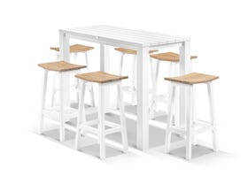 Adele Bar Table with Corfu Bar Stools - 7pc Outdoor Bar Setting