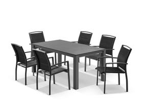 Adele Ceramic table with Verde Chairs 7pc Outdoor Dining Setting