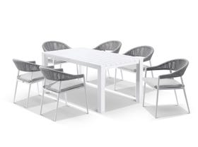 Adele table with Nivala Chairs 7pc Outdoor Dining Setting