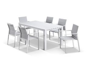 Adele Table with Meribel Dining Chairs - 7pc Outdoor Dining Setting