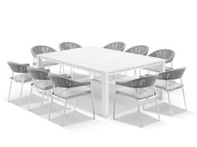 Adele Table with Nivala Chairs 11pc Outdoor Dining Setting