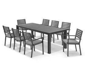 Adele Ceramic table with Mayfair Chairs 9pc Outdoor Dining Setting