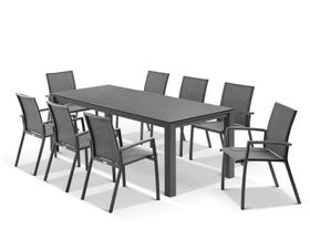 Adele Ceramic table with Sevilla Chairs 9pc Outdoor Dining Setting