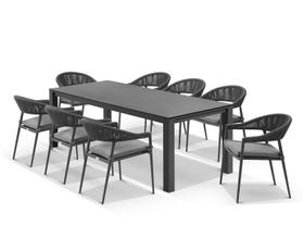 Adele Ceramic table with Nivala Chairs 9pc Outdoor Dining Setting