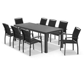 Adele Ceramic table with Verde Chairs 9pc Outdoor Dining Setting