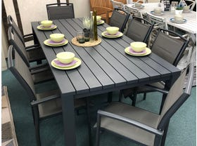 FLOOR MODEL- Adele table with Verde Chairs 9pc Outdoor Dining Setting