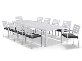Adele table with Twain  Chairs 11pc Outdoor Dining Setting