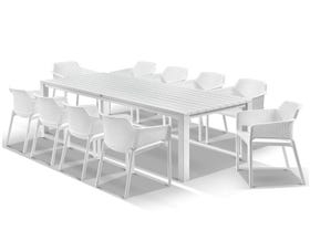 Adele Table with Bailey Chairs 11pc Outdoor Dining Setting