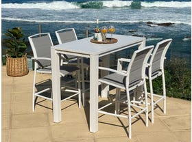 Adele Bar Table with Verde Bar Stools - 5pc Outdoor Bar Setting