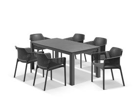 Adele Ceramic table with Bailey Chairs 7pc Outdoor Dining Setting