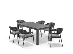 Adele Ceramic table with Nivala Chairs 7pc Outdoor Dining Setting