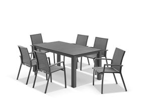 Adele Ceramic table with Sevilla Chairs 7pc Outdoor Dining Setting
