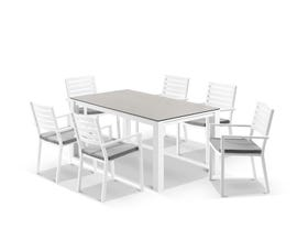 Adele Ceramic table with Mayfair Chairs 7pc Outdoor Dining Setting