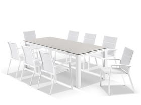 Adele Ceramic table with Sevilla Padded Chairs 9pc Outdoor Dining Setting