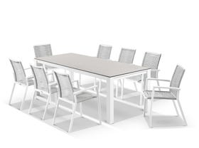 Adele Ceramic table with Sevilla Rope Chairs 9pc Outdoor Dining Setting