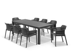 Adele Ceramic table with Bailey Chairs 9pc Outdoor Dining Setting