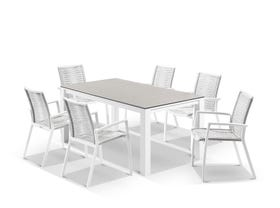 Adele Ceramic table with Sevilla Rope Chairs 7pc Outdoor Dining Setting