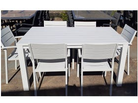 FLOOR MODEL - Adele Table with Orbost Chairs 7pc Outdoor Dining Setting