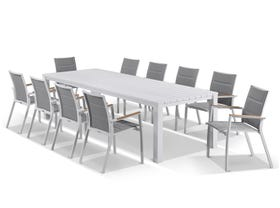 Adele table with Sevilla Teak Arm Chairs 11pc Outdoor Dining Setting