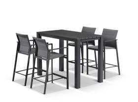 Adele Bar Table with Meribel Bar Stools - 5pc Outdoor Bar Setting