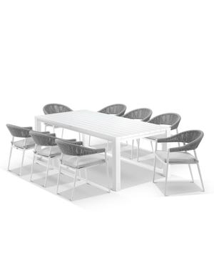 Adele Table with Nivala Chairs 9pc Outdoor Dining Setting