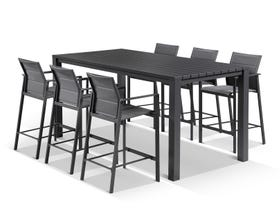 Adele Bar Table with Meribel Bar Stools - 7pc Outdoor Bar Setting