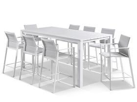 Adele Bar Table with Meribel Bar Stools - 9pc Outdoor Bar Setting
