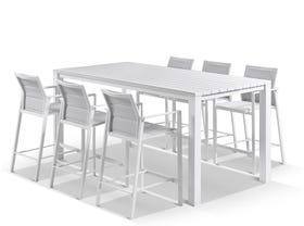 Adele Bar Table with Meribel Bar Stools - 7pc Outdoor Bar Setting