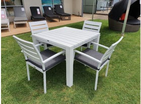 Adele Table with Twain Chairs - 5pc Outdoor Dining Setting