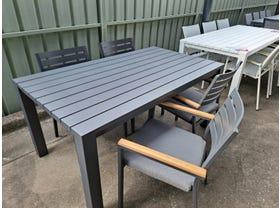 FLOOR MODEL - Adele 165x95cm Table with Astra Chairs Charcoal 5pc