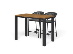 Adele Teak Bar Table with Nivala Bar Chairs -3pc Outdoor Bar Setting