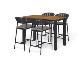 Adele Teak Bar Table with Nivala Bar Chairs -5pc Outdoor Bar Setting