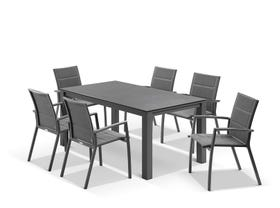 Adele Ceramic table with Sevilla Padded Chairs 7pc Outdoor Dining Setting
