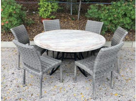 FLOOR MODEL - Aro Table with Lucerne Chairs 7pc Outdoor Dining Setting