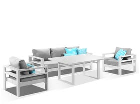 Aspen 4pc Low Dining Setting -White / Cast Slate