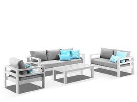 Aspen 4pc Lounge Setting - White / Cast Slate