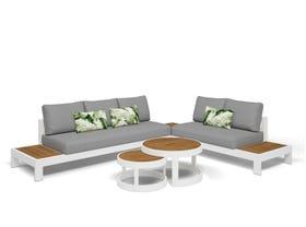 Aspen 5 Seater Outdoor Teak Platform Lounge Setting