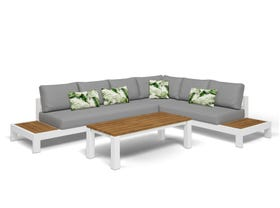 Aspen 6 Seater Outdoor Teak Platform Lounge Setting