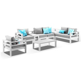 Aspen 6 Seater Outdoor Aluminium Lounge