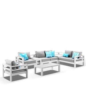 Aspen 6 Seater Outdoor Aluminium Lounge